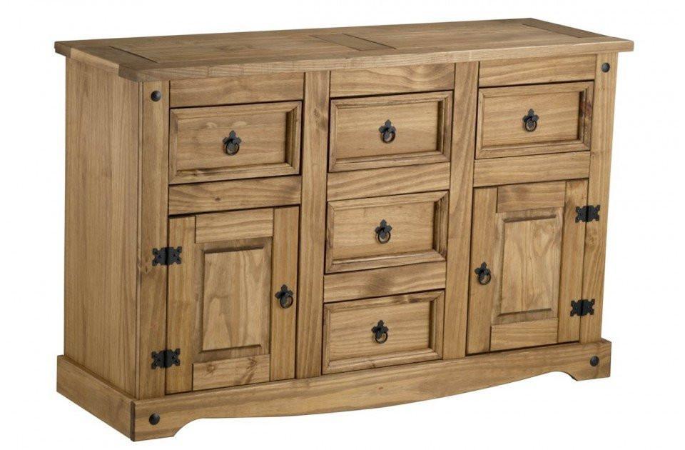 BIRLEA Corona 2 Door 5 Drawer Waxed Pine Sideboard