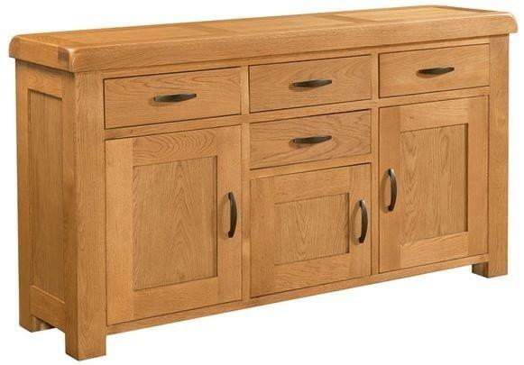 Clovelly Oak Large Sideboard With 4 Drawers And 3 Doors