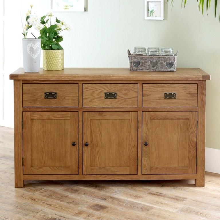 BIRLEA Malvern 3 Door 3 Drawer Oak Sideboard Online Bed