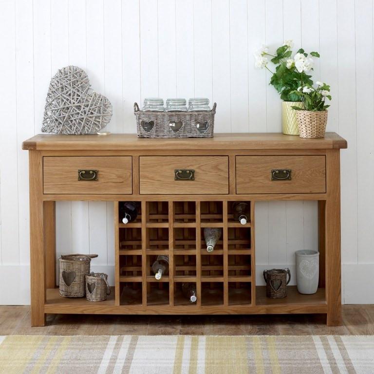 BIRLEA Malvern 3 Drawer Sideboard Oak With Wine Rack