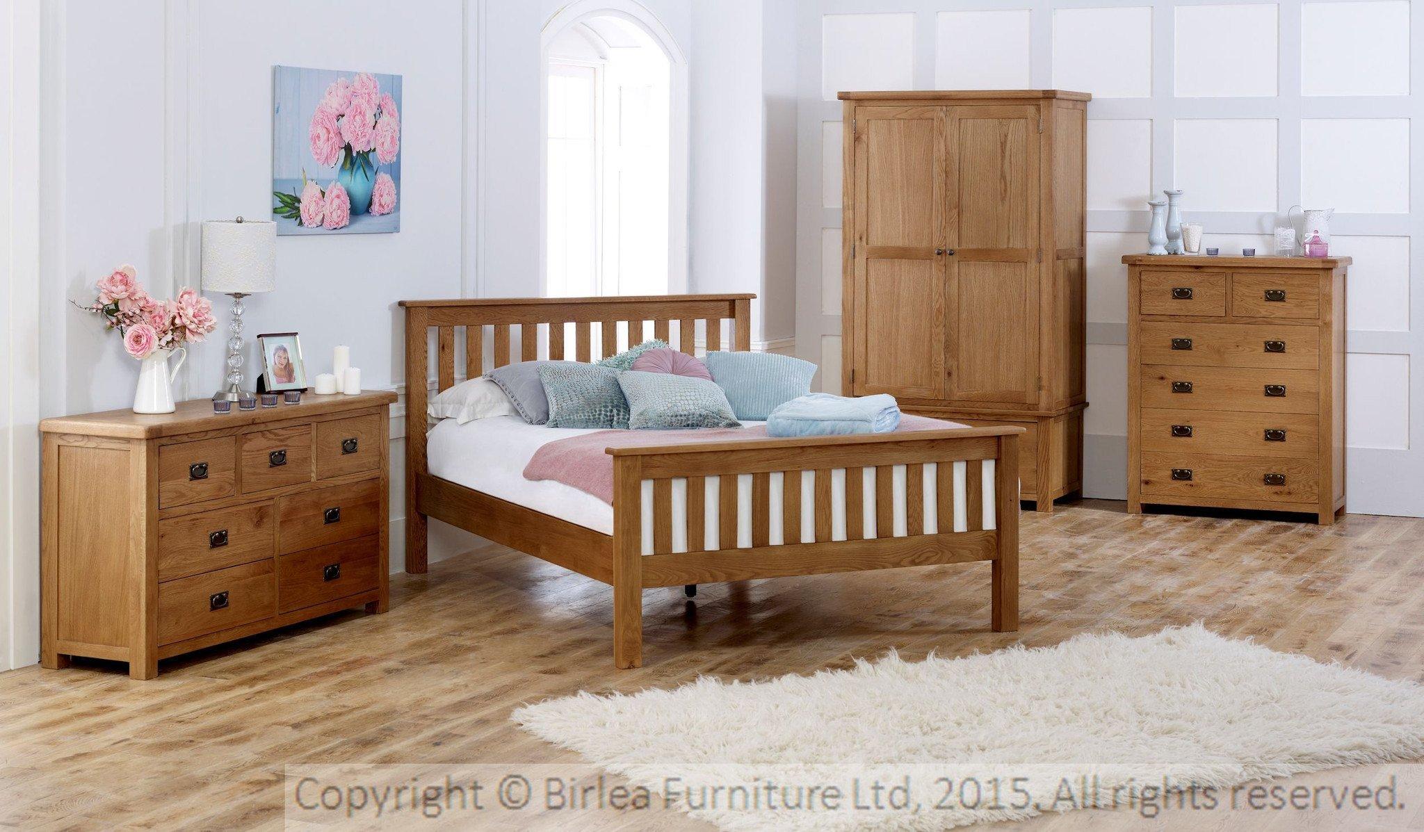 Malvern 5 drawer wellington oak online bed mattress for Bedroom furniture wellington