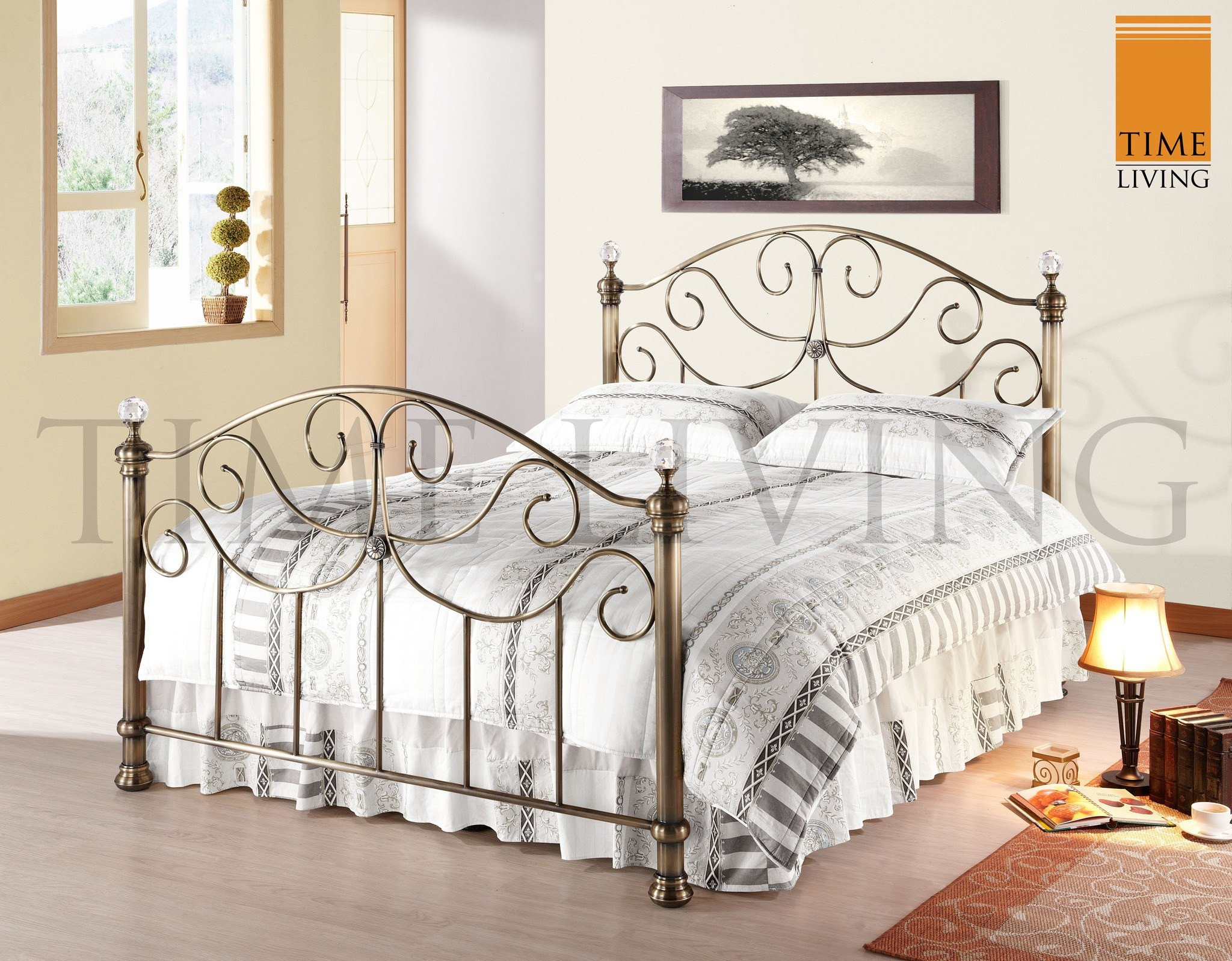 time living victoria crystal post metal bed frame