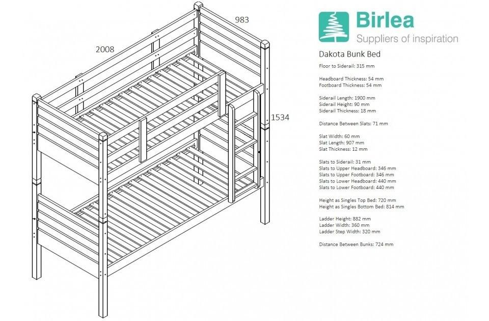 Minimumloft Essbereich : Birlea dakota bunk bed mattress store