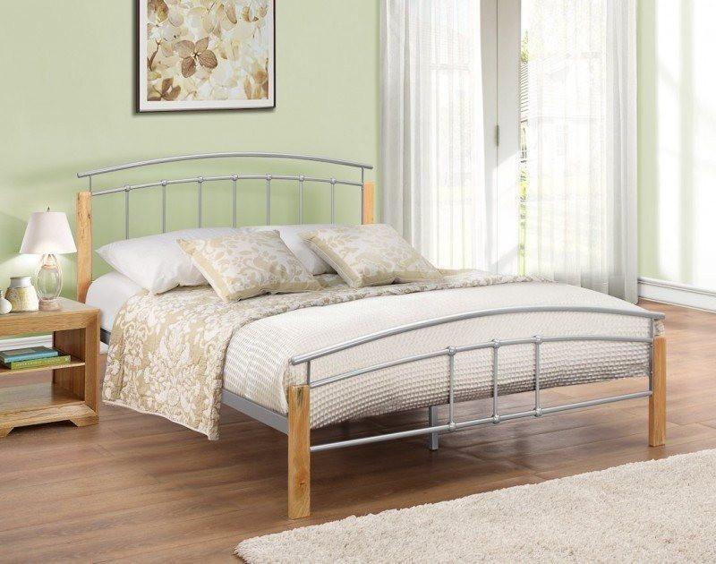 BIRLEA Tetras Beech Silver Bed Frame Online Bed Mattress