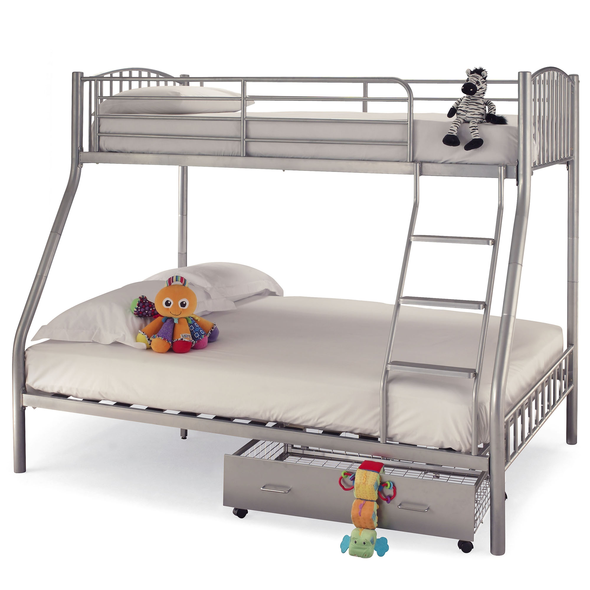 serene oslo three sleeper silver bunk bed online bed mattress store shops in south london. Black Bedroom Furniture Sets. Home Design Ideas